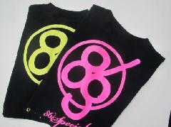 Tシャツ  ブラックTにピンクラメ文字 サイズS