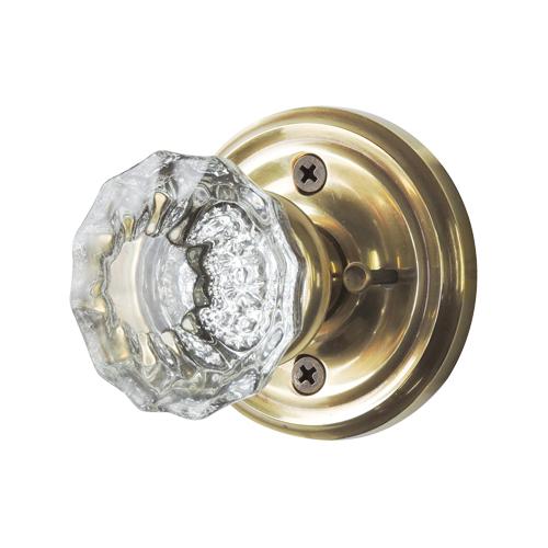 ガラスドアノブ(簡易錠付)真鍮座