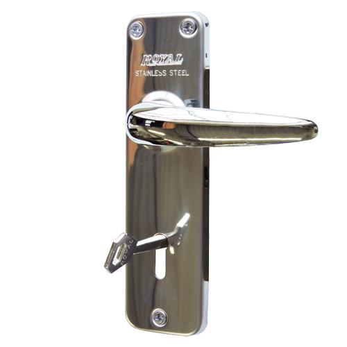 レバーハンドル(SUS鏡面)アンティーク調鍵付き