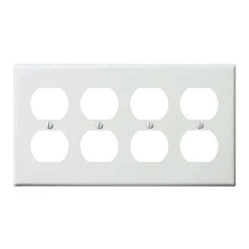 スチール8口コンセントプレート(ホワイト)