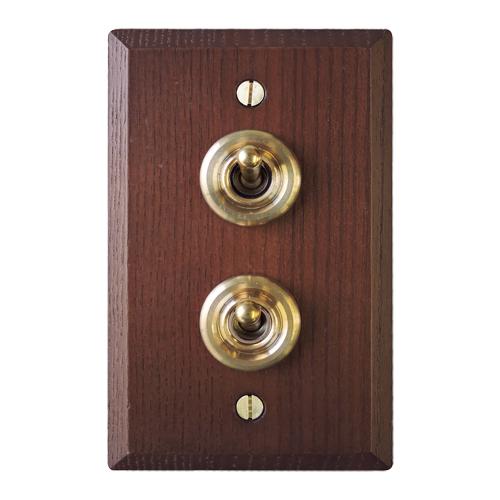 木製プレートスイッチ ダブル(アッシュ)