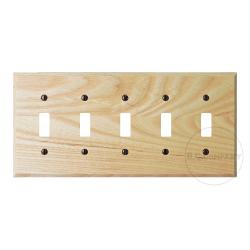 木製5口スイッチプレート(ナチュラル)