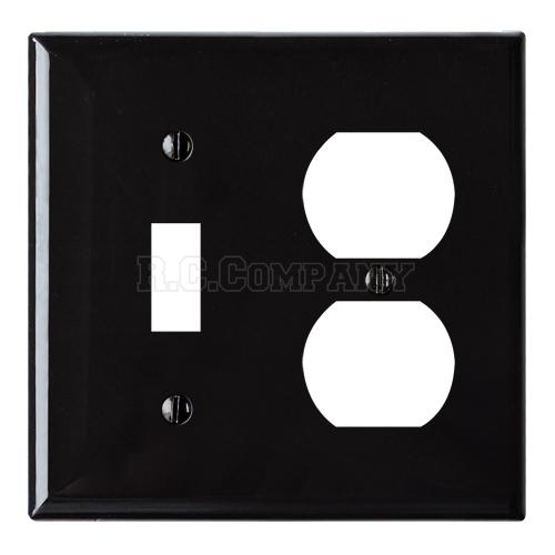 プラスチックコンビプレート(ブラック)1口スイッチ2口コンセント