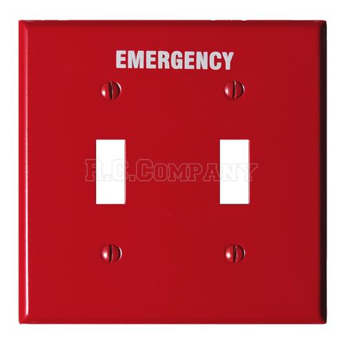 スチール2口スイッチプレート (レッド) EMERGENCY