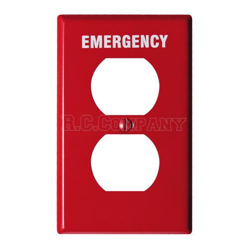スチール2口コンセントプレート (レッド) EMERGENCY
