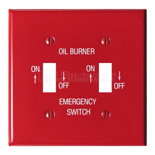 スチール2口スイッチプレート (レッド) OIL BURNER