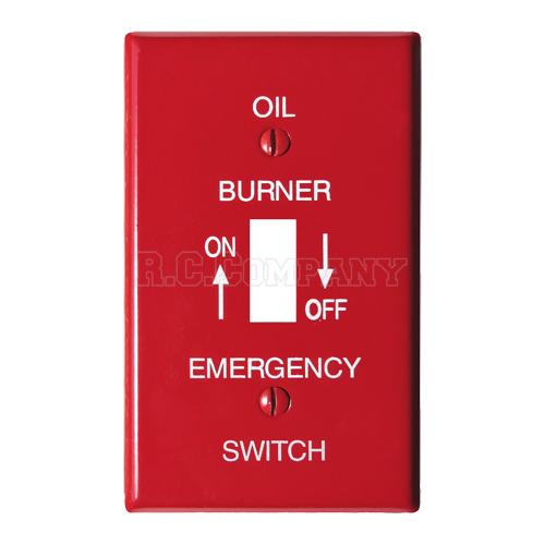 スチール1口スイッチプレート (レッド) OIL BURNER