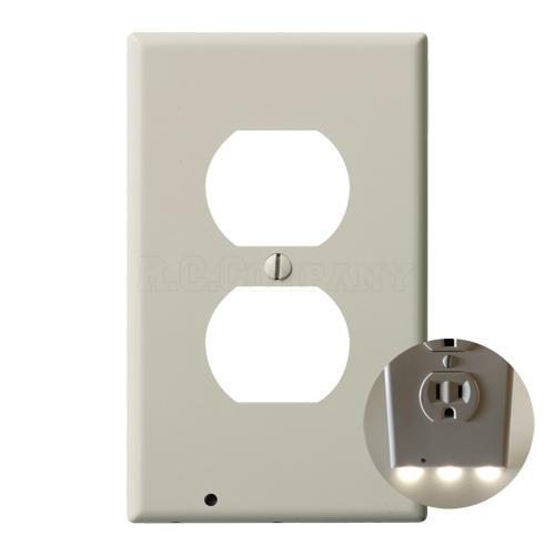 プラスチック2口コンセントプレート LEDガイドライト (ライトアーモンド)