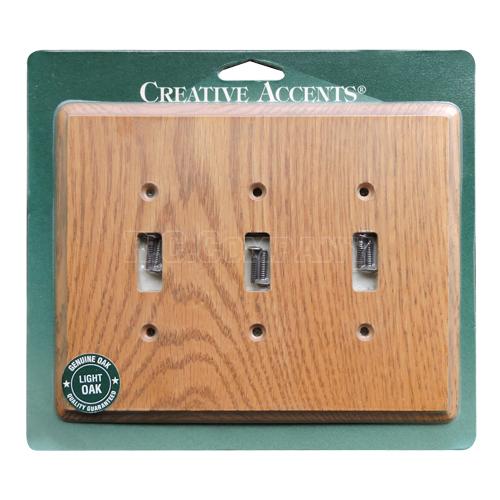 木製3口スイッチプレート(ライトオーク) -限定品-