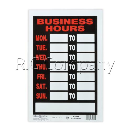 サインプレート BusinessHours(プラスチック製) 【SP-8】
