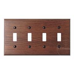 木製4口スイッチプレート(ブラウン)