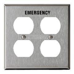 ステンレスヘアライン4口コンセントプレート EMERGENCY(ブラック)
