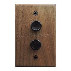 木製プレートプッシュスイッチ ダブル(ウォルナット)