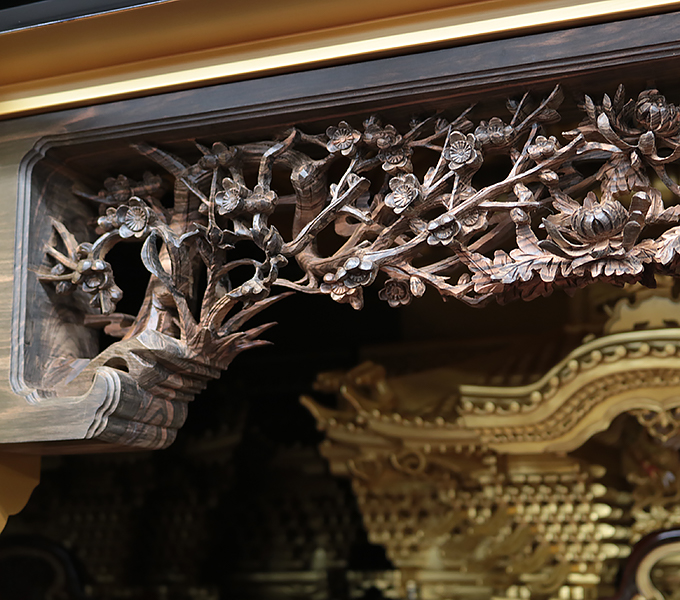 準輪島塗仏壇-唐木一枚板の欄間
