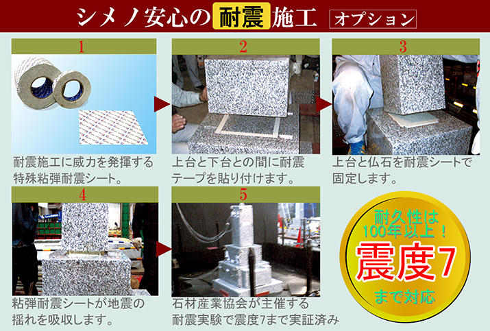シメノの墓石-安心の耐震施工オプション