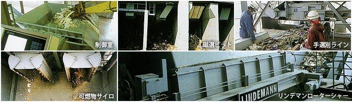 制御室・磁選ピット・手選別ライン・可燃物サイロ・リンデマンローターシャー