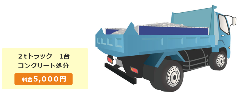 2tトラック1台 コンクリート処分 料金5,000円